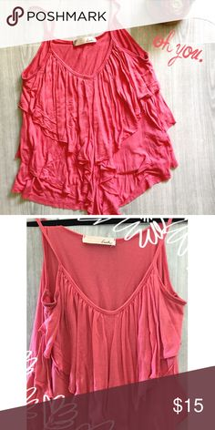 LUSH pink flowy layered tank Perfect shade of pink Lush tank top. Has cute layered detail in front. Size Medium. 100% Viscose. Lush Tops Tank Tops