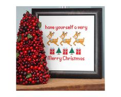 Christmas Reindeer Cross Stitch Pattern Instant by tinymodernist