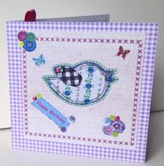 Birthday Card,Printed Applique Design,Hand Finished Greeting Card £1.95