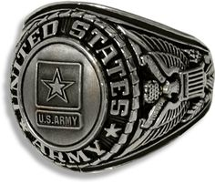 This US Army silver ring has antique finish cast with detailed Army insignia.