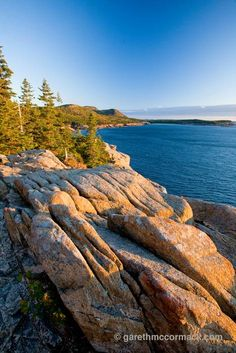 Evening coastline, Acadia National Park, Maine, New England, USA. Stock Photo