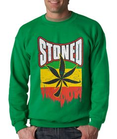Crewneck Stoned Long Sleeve Rasta Pot Leaf from $15.99 at xpressiontees.etsy.com   #ExpressionTees