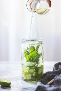 Sangría Verde {with Vinho Verde, Cucumber, Melon, Mint, Basil + Lime}