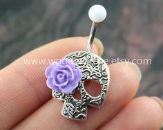 Day Of The Dead, lovely Flower Skull Belly Button Rings,Sugar Skull Navel jewelry,Purple roses eyes,sugar skull belly rings by woodredrose on Etsy