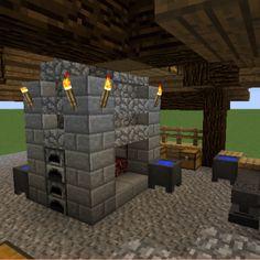 Casa Medieval Minecraft, Medieval Houses, Minecraft Blacksmith House, Minecraft Decorations, Minecraft Ideas, Amazing Minecraft, Minecraft Construction, Minecraft Blueprints, Wood Stairs
