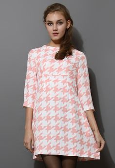 Houndstooth Mid-Sleeve Dress in Pink