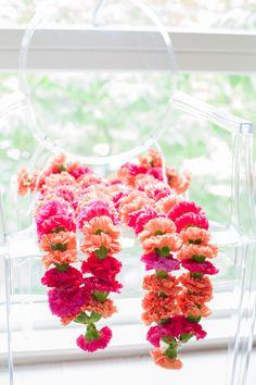 Flower Garlands Pink Summer Solstice Colourful London Multicultural Wedding http://icylazare.com/
