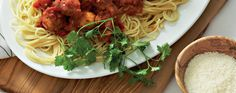 Spaghetti with Chicken-Parmesan Meatballs & Red-Pepper Sauce