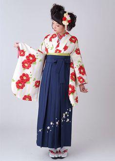 スタンダード袴(小振袖・二尺袖)レンタルセット : G786: 白×黄色 縦縞 紅椿(G803)|| 卒業式袴レンタル@京都 夢館 ||