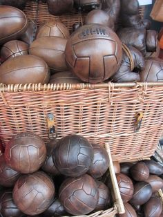 Having a Ball shopping on Portobello Road, London.  Vintage leather Rugby footballs.