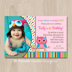 Owl First Birthday Invitation with Picture Owl Birthday
