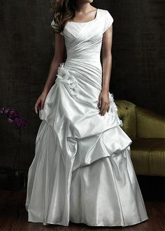 MODEST TAFFETA SQUARE NECKLINE BRIDAL GOWN WITH DIAGONAL PLEATING AND PICK-UPS ON SKIRT LACE BRIDESMAID PARTY COCKTAIL GOWN