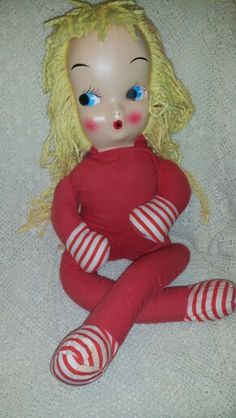 Vintage Yarn haired stuffed Doll 1940's /1950's