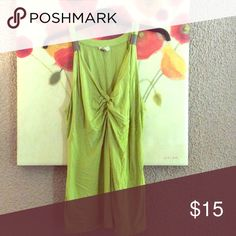 Lime Green Yvos Tank with Gold Detail Tvos Tank Tops Tank Tops