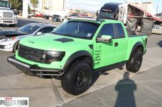 These lime green Ford Raptors seem to be very popular...at least on Pinterest. This one was at #SEMA 2011