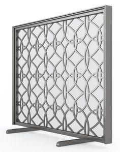 Modern Geometric Oval Loops Fireplace Fire Screen Flat Panel