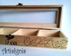 Tea Box Tea caddy Trinket box Pyrographed by hand by ArtisIgnis