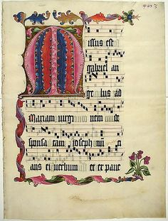 Manuscript Leaf with the Initial M, Mainz, Germany Renaissance Music, Medieval Music, Medieval Art, Illuminated Letters, Illuminated Manuscript, Illustrated Words, Initial M, Wedding Art, Wedding Fonts