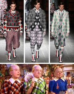 A look from Men's Fashion Week in Milan inspired by the munchkins from The Wizard of Oz.