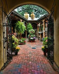Santa Fe Photograph – Into the Courtyard – Fine art travel photography – Southwest Door art – Wall art, Corporate art – wrought iron gate Patio dream. Colorful and bright tile leading to a cute patio area! Outdoor Rooms, Outdoor Gardens, Outdoor Living, Outdoor Sheds, Spanish Style Homes, Spanish House, Spanish Colonial, Mexican Style Homes, Spanish Revival