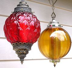 Hanging pendant lights, we had a gold one. ~ I recently listed a house that had both of these still in use