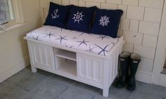 Crate and Barrel Bench. Custom starfish cushion...WONDERING if we can make this for less.