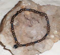 Bronze Czech beaded bracelet, Hematite Jewelry, Stretch bracelet, ValentineDay gift