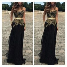 Popular Junior Sweet Heart Goledn Black Formal A Line Cheap Floor Length Prom Dresses, WG234 The long prom dress is fully lined, 4 bones in the bodice, chest pad in the bust, lace up back or zipper ba