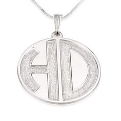 Sterling Silver 2 Sparkling Letters Monogram Necklace