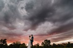 Bride and groom at sunset.  Wedding portraits.  London Wedding.