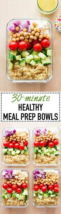 Get back into a meal prepping routine now that summer fun is almost over! Keep summer in your lunch for now with these Healthy Meal Prep Bowls. via @greenhealthycoo
