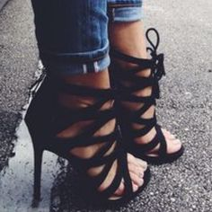 Strappy black lace up heels Black strappy lace up heels. Marked ALDO for views. First picture is just similar style more for style inspo, last two pics are actual heels for sale ALDO Shoes Heels