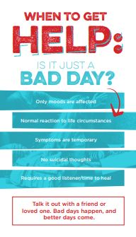 Business-card sized resource on understanding the difference between a bad day and a mental illness.