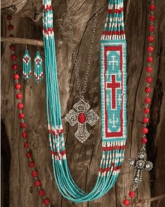 Turquoise & Red Indian Bead Necklace & Bead Earring Set