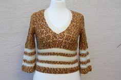 Vintage Pullover - Pullover vintage Ajour gehäkelt braun gelb weiss - ein Designerstück von trixies-zauberhafte-Welten bei DaWanda