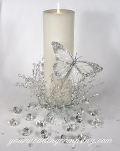 "reception ceremony glittered silver confetti diamonds garland white centerpiece candle pillar ""unity candle"" ""feather butterfly"""