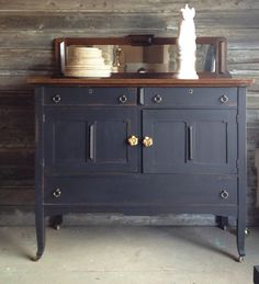 dacha house and gardens, MMS typewriter milk paint. Black Painted Furniture, Painted Bedroom Furniture, Repurposed Furniture, Cool Furniture, Furniture Ideas, Cabinet Inspiration, Furniture Inspiration, Colour Inspiration, Antique Buffet