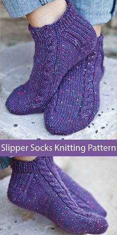 Knitting Pattern for Pavo Slipper Socks -You can find Socks and more on our website.Knitting Pattern for Pavo Slipper Socks - Knit Slippers Free Pattern, Crochet Socks, Knitted Slippers, Knit Or Crochet, Crochet Clothes, Crochet Baby, How To Knit Socks, Cable Knit Socks, Crochet Granny