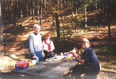 Judy Bolton fans Gordon Schiller, Lorraine Rigers, and Mike DeBaptiste lunching in Sizerville State Park, a location used in The Voice in the Suitcase.