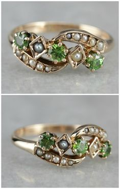 Antique Seed Pearl and Demantoid Garnet Dinner ring from Market Square Jewelers. Pearl Jewelry, Pendant Jewelry, Jewelery, Silver Jewelry, Fine Jewelry, Amber Jewelry, Silver Ring, Antique Rings, Antique Jewelry