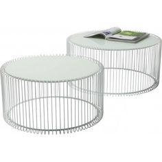 tables basses rondes wire blanche set de 2 kare design - Set De Table Scandinave