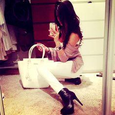 Skinny white jeans --- black heels
