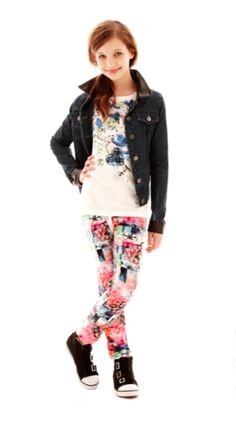 DREAMPOP print leggings, denim jacket, and print shirt