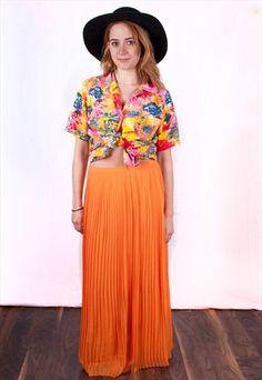 Vintage 1970 Pleated High Waisted  Boho Maxi Skirt