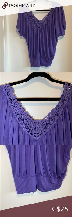 """3/$45 - Kismet Purple Lace Blouse Colour: Purple Material: Rayon and Spandex Condition: Good Features: Lace detailing  Bust: 36-37"""" Waist: 28-29"""" Kismet Tops Blouses White Lace Blouse, Black Sheer Blouse, Orange Blouse, Coral Lace, High Waisted Pencil Skirt, Beautiful Blouses, Embroidered Blouse, Blouses For Women, Floral Tops"""