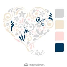 Silver, Champagne, Teaberry, and Navy Wedding Color Palette - free custom artwork created at MagnetStreet.com