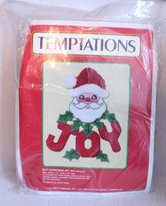 "Plastic Canvas Santa Christmas Joy Wall Hanging Kit VTG 1989 Linda Ruck 15 x 18"" #JLCraftDesigns"