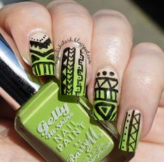 Gradient Tribal Nails  Full post here : http://mypolishstash.blogspot.com/2013/08/gradient-tribal-nails.html  Use the nail art product here :  http://www.bornprettystore.com/fast-nail-quick-drawing-paint-polish-pens-p-5268.html?currency=USD  Use the code  KYL91  for a 10% discount!