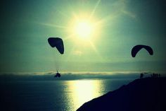 Paragliding across the Miraflores district in Lima...