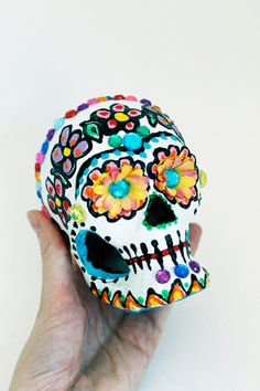 Day of the Dead Sugar Skull Hand painted paper por TheVirginRose, $25.00